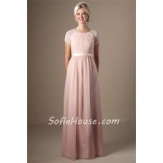 Modest Sheath Scoop Neck Short Sleeve Blush Pink Chiffon Prom Dress With Sash