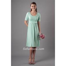 Modest Sheath Scoop Neckline Short Mint Green Bridesmaid Dress With Sleeves