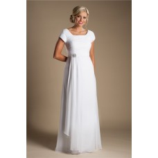 Modest Sheath Sleeve White Chiffon Garden Beach Wedding Dress Without Train