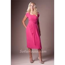 Modest Sheath Square Neck Hot Pink Chiffon Short Sleeve Party Bridesmaid Dress