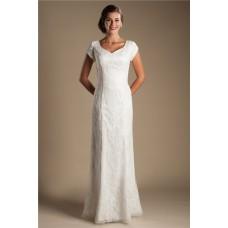 Modest Sheath Sweetheart Short Sleeve Lace Destination Wedding Dress Without Train