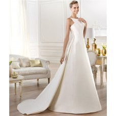 Modest Simple A Line Bateau Neck Satin Wedding Dress With Detachable Train Buttons