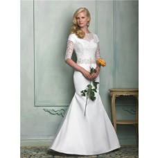Modest Slim Mermaid Sweetheart Short Sleeve Beaded Lace Satin Wedding Dress With Buttons