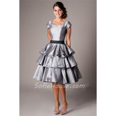 Modest Sweetheart Cap Sleeve Short Silver Taffeta Ruffle Tiered Party Prom Dress With Sash