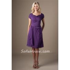 Modest Sweetheart Short Sleeves Purple Chiffon Ruched Bridesmaid Dress