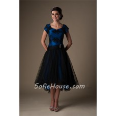 Modest Sweetheart Sleeve High Low Royal Blue Satin Black Tulle Party Prom Dress