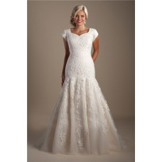 Modest Trumpet Mermaid Cap Sleeve Champagne Satin Lace Wedding Dress