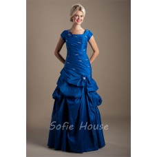 Modest Trumpet Square Neck Cap Sleeve Royal Blue Taffeta Prom Dress Corset Back