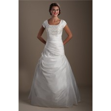 Modest Trumpet Square Neck Embroidery Taffeta Ruched Corset Wedding Dress With Sleeves