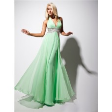 New Sexy Halter Floor Length Green Chiffon Evening Prom Dress With Applique Beading