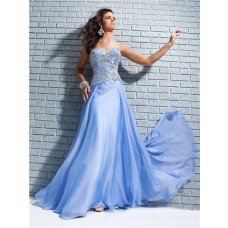New Sweetheart Long Blue Chiffon Sparkle Party Prom Dress With Beading Crystals