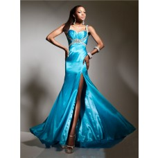 New Sweetheart Long Blue Silk Evening Prom Dress With Beading Straps Split