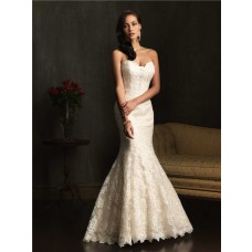 Nice Mermaid Sweetheart Ivory Lace Wedding Dress With Buttons Train
