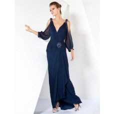 Nice Sheath V Neck Sheer Long Sleeve Navy Blue Chiffon Evening Wear Dress