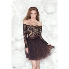Off The Shoulder Black Tulle Lace Sleeve Party Prom Dress With Bows