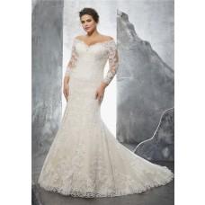 Off The Shoulder Three Quarter Sleeve Lace Plus Size Wedding Dress