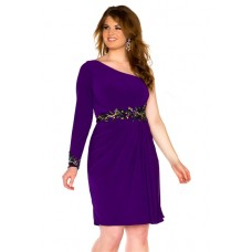 One Shoulder Short Purple Chiffon Beaded Plus Size Cocktail Prom Dress With Sleeve