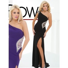 One Shoulder Side Slit Cut Out Sheer Back Long Black Chiffon Beaded Prom Dress