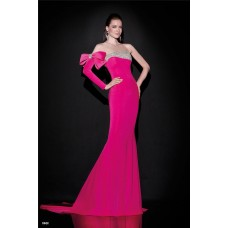 One Shoulder Sleeved Fuchsia Satin Beaded Occasion Evening Dress With Bow