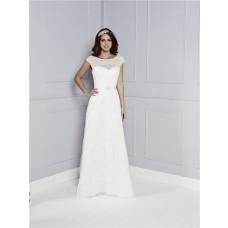 Perfect Destination Sheath Boat Neck Cap Sleeve Deep V Back Lace Wedding Dress With Sash