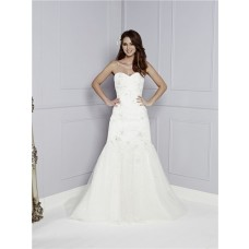 Perfect Mermaid Strapless Sweetheart Tulle Lace Beaded Wedding Dress With Buttons