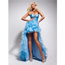 Popular High Low Sweetheart Ligh Blue Organza Party Prom Dress With Beading Ruffles