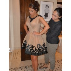 Pretty A Line Short Kim Kardashian Champagne Dress With Black Lace
