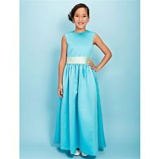 Pretty A line Long Blue Satin Junior Bridesmaid Dress With Sash