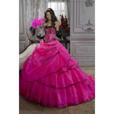 Pretty Ball Gown Fuchsia Organza Quinceanera Dress With Embroidered Beading
