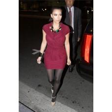 Pretty Cap Sleeve Short Pleated Kim Kardashian Red Dress