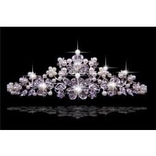 Pretty Crystals Pearls Wedding Bridal Tiaras