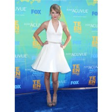 Pretty Halter Short/ Mini White Taylor Swift Dress Inspired Dress