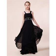 Pretty Sheath Straps Long Dark Navy Blue Chiffon Junior Bridesmaid Dress With Beading