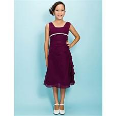 Pretty Sheath Straps Tea Length Long Purple Chiffon Junior Bridesmaid Dress