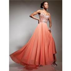 Pretty Sweetheart Long Coral Chiffon Beaded Crystals Party Prom Dress
