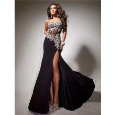 Pretty Sweetheart See Through Long Black Chiffon Tulle Beaded Corset Prom Dress With Slit
