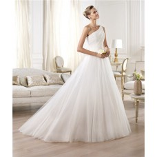Princess A Line Asymmetrical One Shoulder Draped Tulle Wedding Dress With Buttons