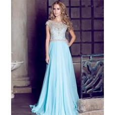 Princess A Line Bateau Neckline Cap Sleeve Long Aqua Chiffon Gold Beading Prom Dress