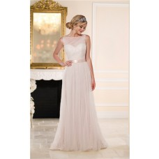 Princess A Line Bateau Neckline Low V Back Champagne Tulle Wedding Dress With Sash