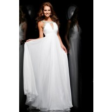 Princess A Line Front Keyhole Long White Chiffon Beaded Evening Prom Dress With Straps