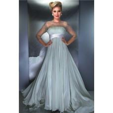 Princess A Line Illusion Neckline Long Chiffon Beaded Sleeve Prom Evening Dress