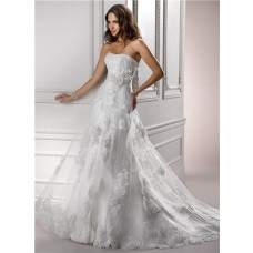 Princess A Line Strapless Corset Back Lace Flowers Wedding Dress With Detachable Straps