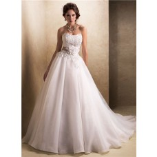 Princess A Line Strapless Corset Back Organza Wedding Dress With Flower Sash