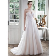 Princess A Line Strapless Draped Tulle Applique Wedding Dress With Buttons
