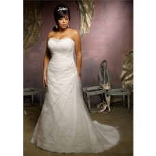 Princess A Line Strapless Lace Tulle Ruched Plus Size Wedding Dress Lace Up Back