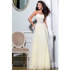 Princess A Line Strapless Long Ivory Tulle Lace Beaded Sheer Corset Prom Dress