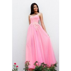 Princess A Line Strapless Sweetheart Long Pink Lace Tulle Wedding Prom Dress
