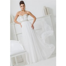 Princess A Line Strapless Sweetheart White Chiffon Beaded Long Prom Dress