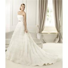 Princess A Line Strapless Tiered Organza Ruffle Wedding Dress With Crystal Sash