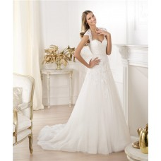 Princess A Line Sweetheart Cap Sleeve Open Back Tulle Lace Wedding Dress